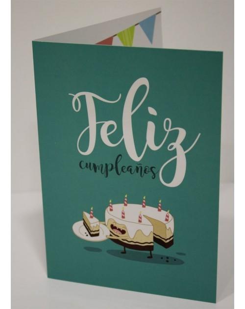Tarjeta Cristiana Felicitacion - Feliz Cumpleaños Pastel