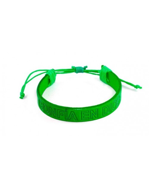 Pulsera piel genuina PLC verde Confía en Dios